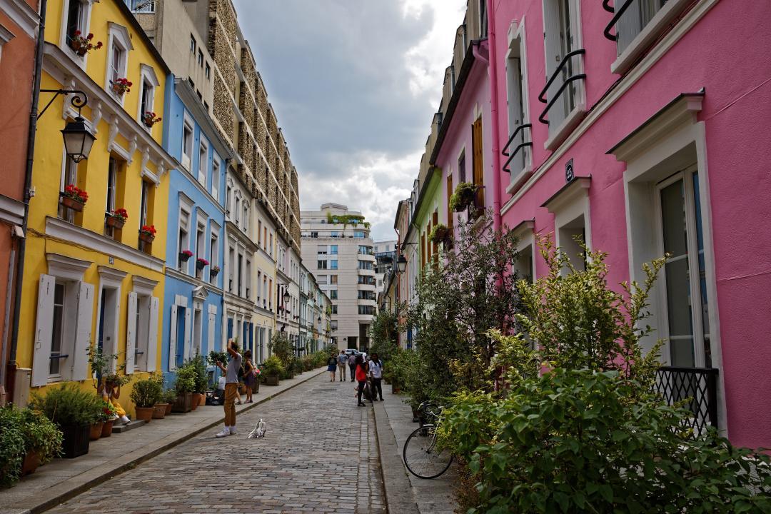Colourful backdrop of rue Cremieux, Paris - Kinto